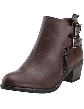 Alexis Leroy Winter Fashion Womens' Fashion Double Buckle Classic Solid Heeled Jodhpur Short Boots by Alexis Leroy