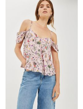 Floral Cold Shoulder Top by Topshop