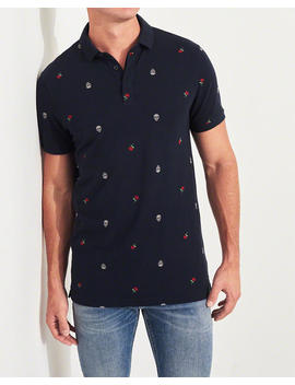 Stretch Patterned Polo by Hollister
