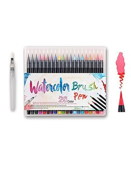 Watercolor Brush Pens Set   Premium Soft Flexible Dual Tips Coloring Brush Pen & Fineliner Color Marker Pens For Children Adult Coloring Sketching Books, Manga, Comic, Calligraphy (20 Colors) by Alycoco