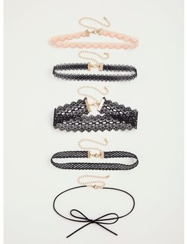 Mixed Lace & Bow Chokers   Set Of 5 by Torrid