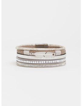 Grey Beaded Magnetic Cuff Bracelet by Torrid