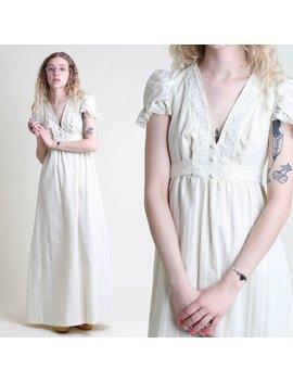 Vintage 70s Tulip Sleeve Empire Victorian Lace Dress Size M / Cream Hippie Prairie Boho Wedding Maxi Dress 1970s Medium by Etsy