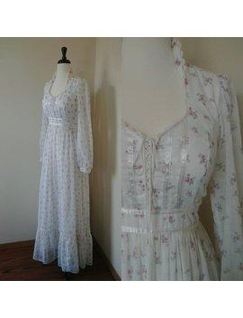 Vintage 1970s White Floral Gunne Sax Prairie Dress, S/M by Etsy