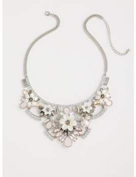 Floral Rhinestone Bib Necklace by Torrid