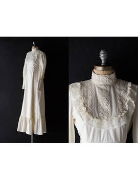 70s Bohemian Wedding Gown   Natural Off White Cotton Boho Prairie Maxi Dress   Small by Etsy