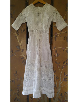 1900s White Eyelet And Irish Lace Detail Dress by Etsy