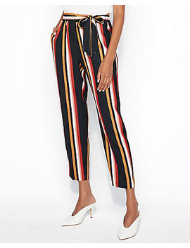 High Waisted Striped Ruffle Waist Pull On Pant by Express