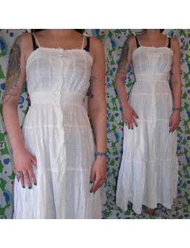 Vintage 1970's Nancy B Of Ca Li For Ni A White Gauze Su Mmer  Bo Ho Prairie Ma Xi Sun Dress by Etsy