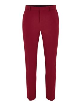 Bright Red Skinny Suit Pants by Topman