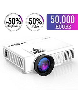 Mini Projector,2018 Upgraded Led Video Projector +50 Percents Brighter,+20 Percents Lumens Portable Projector Support 1080 P Hdmi Usb Tf Vga Av For Home Theater For Watching 2018 Fifa World Cup by Elepawl