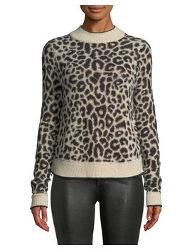 Marly Leopard Print Crewneck Pullover Sweater by Veronica Beard