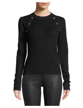 Simi Wool Button Shoulder Raglan Sweater by Veronica Beard