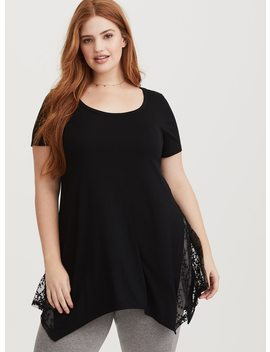 "Super Soft Lace Inset Tunic Tee   Long Length (33"") by Torrid"
