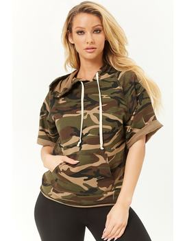 Hooded Camo Print Top by Forever 21