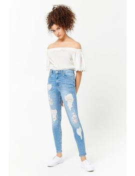 Distressed Floral Embroidered Jeans by Forever 21