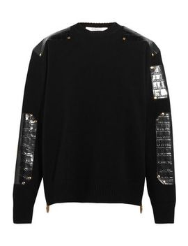 Sweater In Croc Effect Leather Trimmed Wool by Givenchy