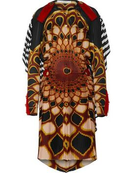 Open Back Printed Pleated Silk Chiffon Mini Dress by Givenchy