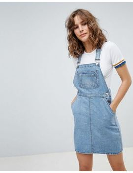 Asos Design Denim Dungaree Dress In Vintage Blue by Asos Design