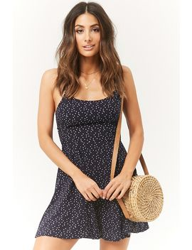 Star Print Lace Up Skater Dress by Forever 21
