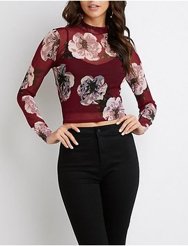 Floral Print Mesh Top by Charlotte Russe