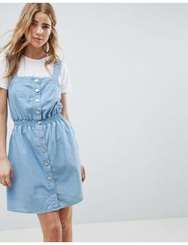 Miss Selfridge Pinafore Dress In Chambray With Shirred Waist by Miss Selfridge