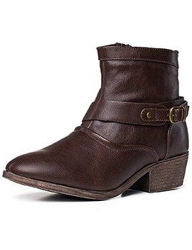 She Sole Womens Western Round Toe Booties Zipper Low Block Heel Ankle Boot by She Sole