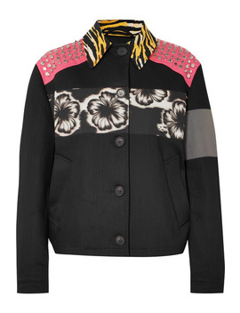 Studded Printed Canvas And Denim Jacket by Prada