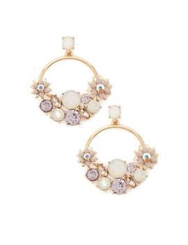 Cluster Drop Hoop Earrings by Forever 21