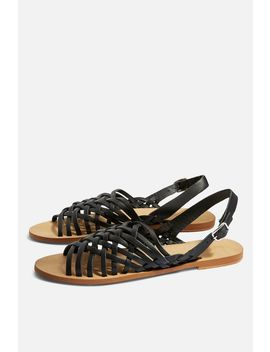 Hoxford Leather Weave Sandals by Topshop