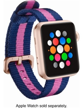 Woven Nylon Band Stainless Steel Watch Strap For Apple Watch™ 38mm   Pink/Navy Blue by Modal