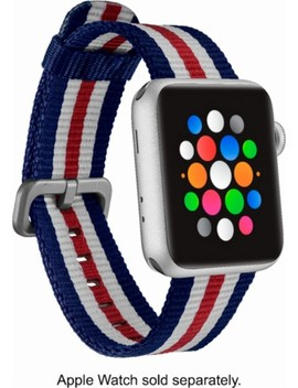 Woven Nylon Band Stainless Steel Watch Strap For Apple Watch™ 38mm   White/Blue/Red by Modal