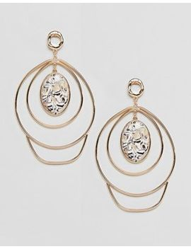Asos Design Earrings In Abstract Twist Wire Design And Large Stone Detail In Gold by Asos Design