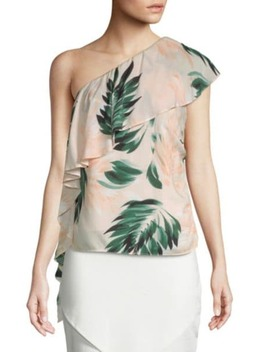 Palm Print One Shoulder Ruffle Top by Scripted