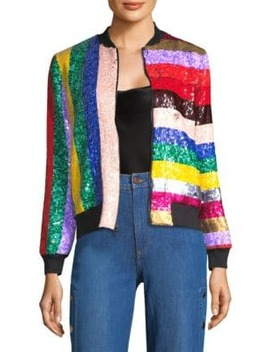 Lonnie Sequin Bomber Jacket by Alice + Olivia
