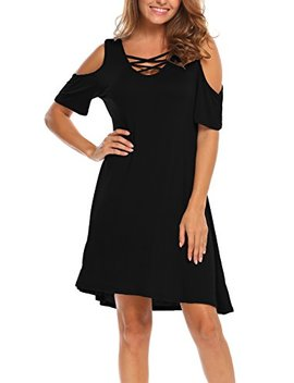 Bluetime Women Cold Shoulder Criss Cross Neckline Short Sleeve Casual Tunic Top Dress by Bluetime
