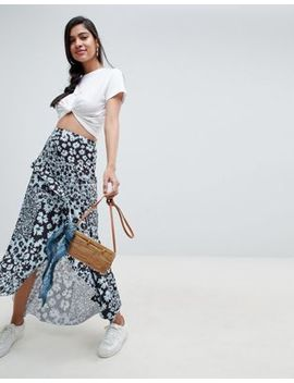Asos Design Mixed Blue Floral Maxi Skirt With Hanky Hem by Asos Design