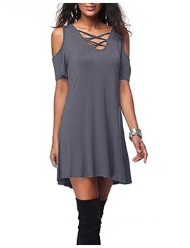 Ioiom Women Cold Shoulder Short Sleeve Criss Cross T Shirt Dress With Pocket by Ioiom