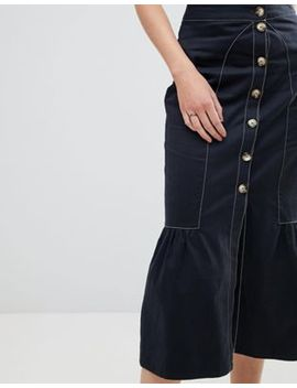 Asos Tall Midi Skirt With Buttons And Contrast Stitching by Asos Tall