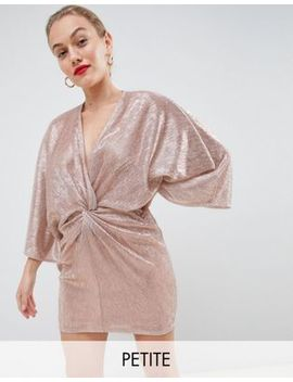 Flounce London Petite Wrap Front Kimono Mini Dress In Rose Gold Metallic by Flounce London