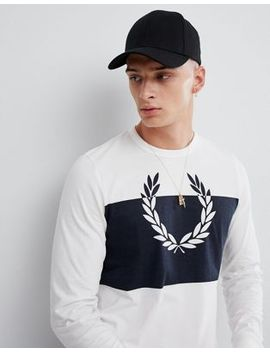 Fred Perry Blocked Laurel Wreath Long Sleeve Top In White by Fred Perry