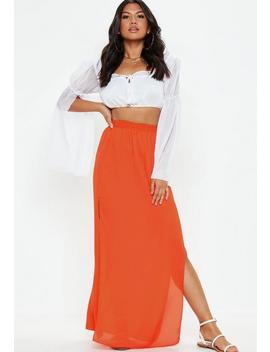 Orange Double Split Maxi Skirt by Missguided