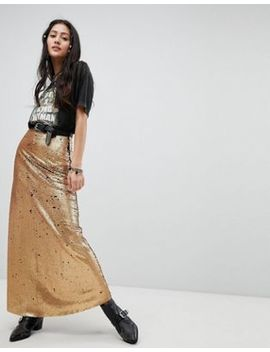 Native Rose Festival Maxi Skirt In Sequin by Native Rose