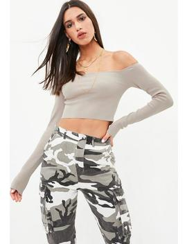 Stone Bardot Knitted Cropped Sweater by Missguided