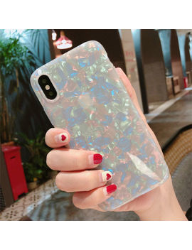 Silicone Glitter Phone Case Cover For I Phone X 7 8 6 6 S Plus Dream Shell Pattern by For Apple