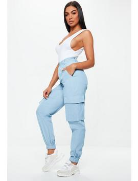Blue Denim Cargo Combat Jeans by Missguided