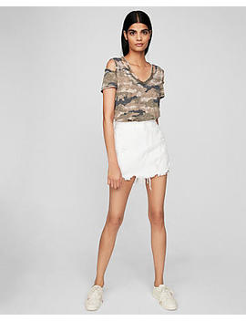 Express One Eleven Camo Burnout Slash Neck Tee by Express