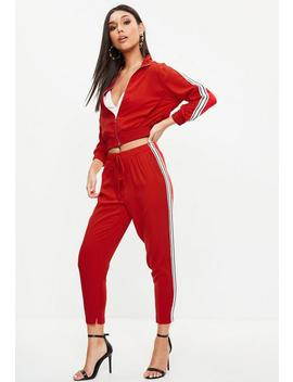 Petite Red Sports Side Stripe Joggers by Missguided