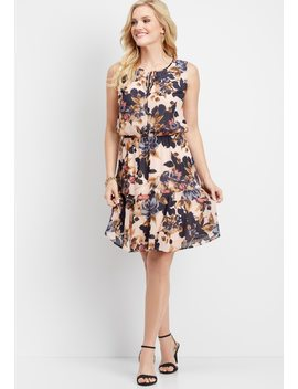 Floral Tie Front Ruffled Dress by Maurices