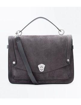 Dark Grey Buckle Side Slouchy Tote Bag by New Look